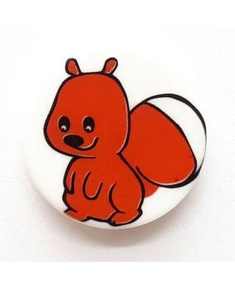 Kinderknopf lustiges Eichhörnchen mit buschigem Schwanz - Größe: 17mm - Farbe: weiß - Art.Nr. 261281
