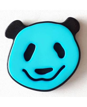 Kinderknopf lustiger Pandabär mit Öse - Größe: 22mm - Farbe: blau - Art.Nr. 331111