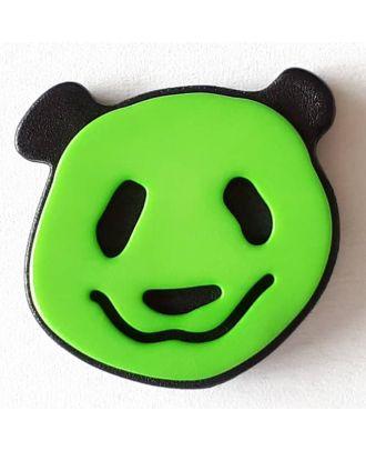 Kinderknopf lustiger Pandabär mit Öse -  Größe: 22mm - Farbe: grün - Art.Nr. 331112