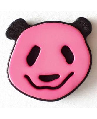 Kinderknopf lustiger Pandabär mit Öse - Größe: 22mm - Farbe: pink  - Art.Nr. 331113