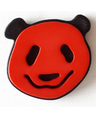 Kinderknopf lustiger Pandabär mit Öse - Größe: 22mm - Farbe: rot - Art.Nr. 331114