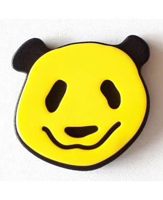 Kinderknopf lustiger Pandabär mit Öse - Größe: 22mm - Farbe: gelb - Art.Nr. 331115