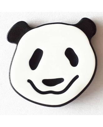Kinderknopf lustiger Pandabär mit Öse - Größe: 22mm - Farbe: weis - Art.Nr. 331110