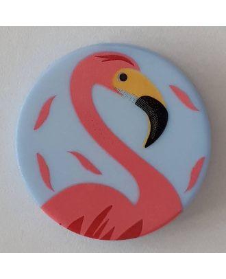 Kinderknopf mit schönem Flamingo mit Öse -  Größe: 15mm - Farbe: blau - Art.Nr. 261293