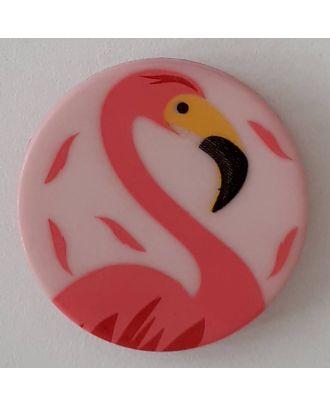 Kinderknopf mit schönem Flamingo mit Öse - Größe: 18mm - Farbe: pink  - Art.Nr. 281091
