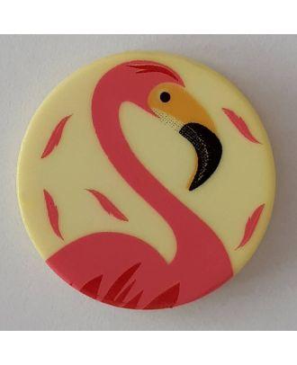 Kinderknopf mit schönem Flamingo mit Öse - Größe: 15mm - Farbe: gelb - Art.Nr. 261296
