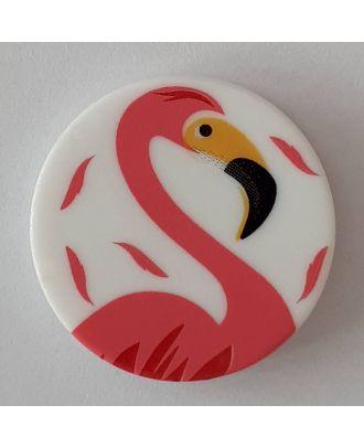 Kinderknopf mit schönem Flamingo mit Öse - Größe: 18mm - Farbe: weiß - Art.Nr. 281088