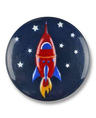 Rakete im Sternenhimmel  mit Öse - Größe: 18mm - Farbe: marine - Art.Nr. 281124