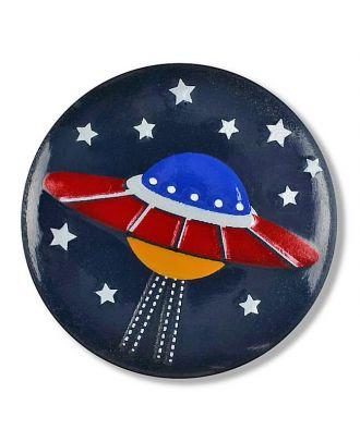 Raumschiff im Sternenhimmel mit Öse - Größe: 18mm - Farbe: marine - Art.Nr. 281125