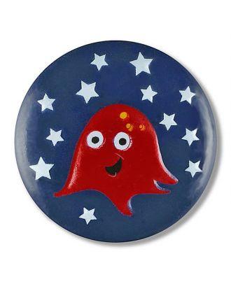 Alien im Sternenhimmel mit Öse - Größe: 18mm - Farbe: marine - Art.Nr. 281126