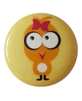 """Kinderknopf """"Küken mit Schleife im Haar"""" mit Öse - Größe: 15mm - Farbe: gelb / messing - Art.Nr. 261310"""
