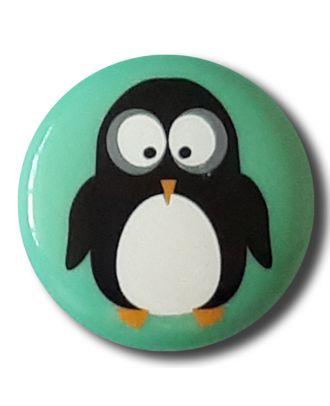 fröhlicher Pinguinknopf mit Öse - Größe: 15mm - Farbe: mintgrün / grün - Art.Nr. 261311
