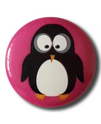 fröhlicher Pinguinknopf mit Öse - Größe: 18mm - Farbe: rose / pink - Art.Nr. 281110