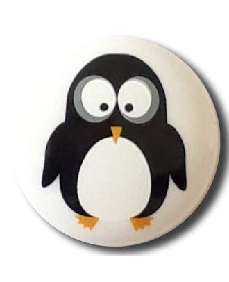 fröhlicher Pinguinknopf mit Öse - Größe: 15mm - Farbe: weiss - Art.Nr. 261314