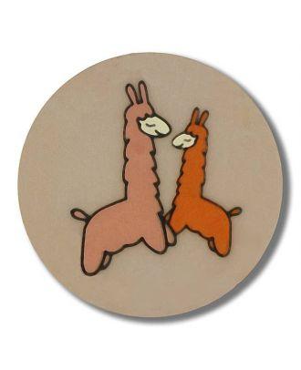 zwei tanzende Lamas Knopf mit Öse - Größe: 15mm - Farbe: beige - Art.Nr. 261331