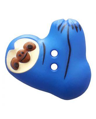 Faultier mit zwei Knopflöchern - Größe: 25mm - Farbe: blue - Art.Nr. 341300