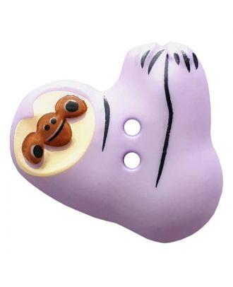 Faultier mit zwei Knopflöchern - Größe: 25mm - Farbe: purple - Art.Nr. 341301