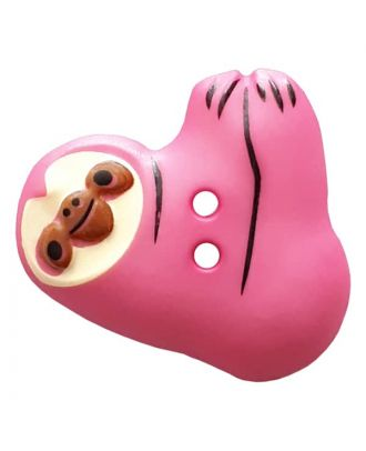 Faultier mit zwei Knopflöchern - Größe: 25mm - Farbe: pink - Art.Nr. 341303
