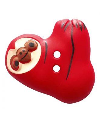 Faultier mit zwei Knopflöchern - Größe: 25mm - Farbe: red - Art.Nr. 341304