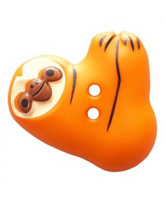Faultier mit zwei Knopflöchern - Größe: 25mm - Farbe: orange - Art.Nr. 341306
