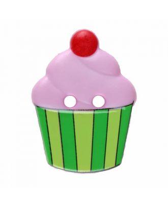 Cupcake Polyamid mit zwei Löchern - Größe: 20mm - Farbe: rosa - Art.Nr. 311063