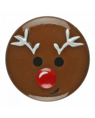 Weihnachtsknopf Renntier Polyamid mit Öse - Größe: 18mm - Farbe: braun - Art.Nr. 281177