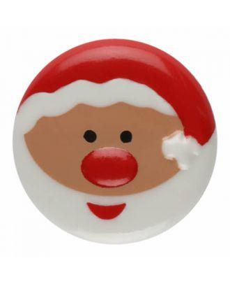 Weihnachtsknopf Santa Claus Polyamid mit Öse - Größe: 18mm - Farbe: weiß - Art.Nr. 281178