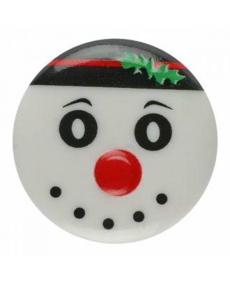 Weihnachtsknopf Schneemann Polyamid mit Öse - Größe: 18mm - Farbe: weiß - Art.Nr. 281179