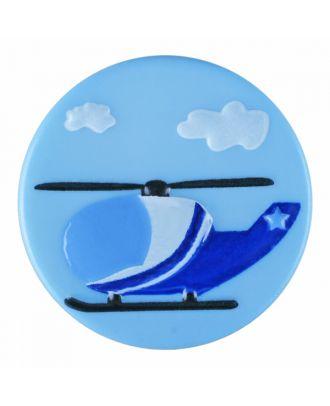 Kinderknopf Polyamid rund mit Hubschraubermotiv und Öse - Größe: 15mm - Farbe: blau - Art.-Nr.: 261381