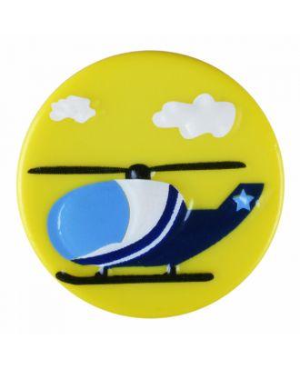 Kinderknopf Polyamid rund mit Hubschraubermotiv und Öse - Größe: 18mm - Farbe: gelb - Art.-Nr.: 281188