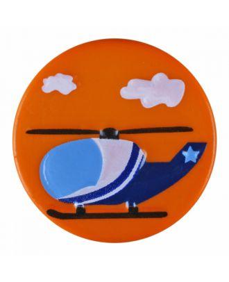 Kinderknopf Polyamid rund mit Hubschraubermotiv und Öse - Größe: 15mm - Farbe: orange - Art.-Nr.: 261383