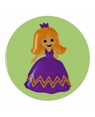 Kinderknopf Polyamid rund mit Prinzessinnenmotiv und Öse  - Größe: 15mm - Farbe: hellgrün - Art.-Nr.: 261385
