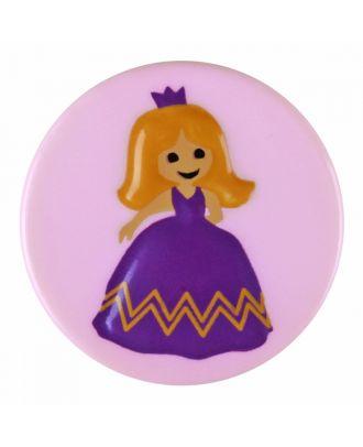 Kinderknopf Polyamid rund mit Prinzessinnenmotiv und Öse  - Größe: 18mm - Farbe: rosa - Art.-Nr.: 281192