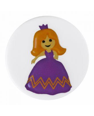 Kinderknopf Polyamid rund mit Prinzessinnenmotiv und Öse  - Größe: 18mm - Farbe: reinweiß - Art.-Nr.: 281190