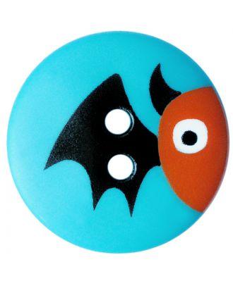 Kinderknopf Polyamid rund mit Fledermausmotiv und 2 Löchern - Größe:  20mm - Farbe: blau - ArtNr.: 301000