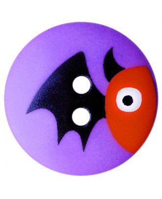 Kinderknopf Polyamid rund mit Fledermausmotiv und 2 Löchern - Größe:  20mm - Farbe: lila - ArtNr.: 301001