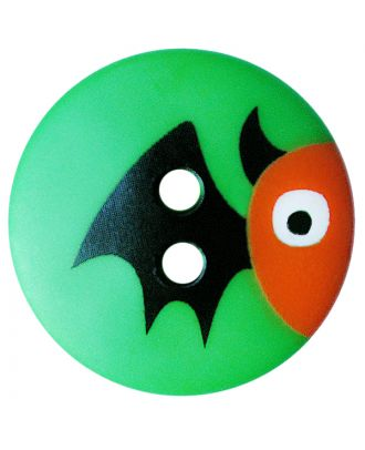 Kinderknopf Polyamid rund mit Fledermausmotiv und 2 Löchern - Größe:  20mm - Farbe: grün - ArtNr.: 301002