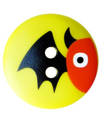 Kinderknopf Polyamid rund mit Fledermausmotiv und 2 Löchern - Größe:  20mm - Farbe: gelb - ArtNr.: 301003