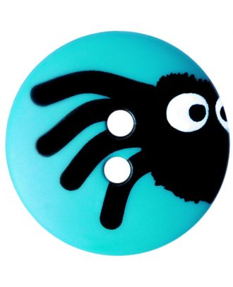 Kinderknopf Polyamid rund mit Spinnenmotiv und 2 Löchern - Größe:  20mm - Farbe: blau - ArtNr.: 301004