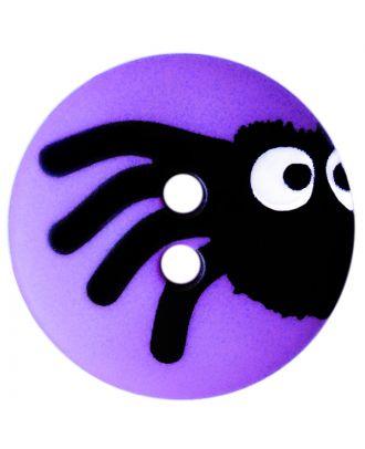 Kinderknopf Polyamid rund mit Spinnenmotiv und 2 Löchern - Größe:  20mm - Farbe: lila - ArtNr.: 301005
