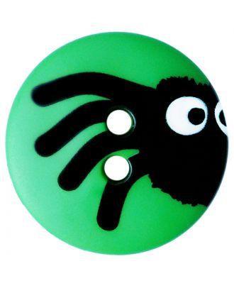Kinderknopf Polyamid rund mit Spinnenmotiv und 2 Löchern - Größe:  20mm - Farbe: grün - ArtNr.: 301006