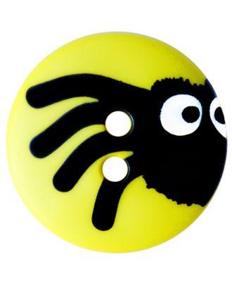Kinderknopf Polyamid rund mit Spinnenmotiv und 2 Löchern - Größe:  20mm - Farbe: gelb - ArtNr.: 301007