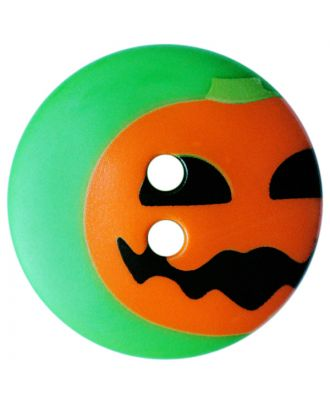 Kinderknopf Polyamid rund mit Kürbismotiv und 2 Löchern - Größe:  20mm - Farbe: grün - ArtNr.: 301010
