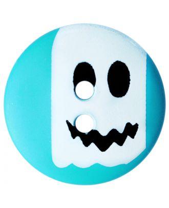 Kinderknopf Polyamid rund mit Geistmotiv und 2 Löchern - Größe:  20mm - Farbe: blau - ArtNr.: 301012