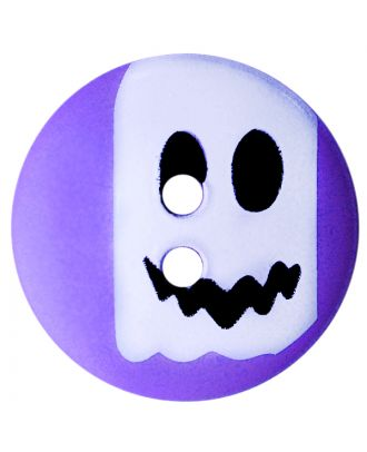 Kinderknopf Polyamid rund mit Geistmotiv und 2 Löchern - Größe:  20mm - Farbe: lila - ArtNr.: 301013