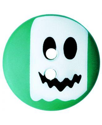 Kinderknopf Polyamid rund mit Geistmotiv und 2 Löchern - Größe:  20mm - Farbe: grün - ArtNr.: 301014