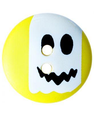 Kinderknopf Polyamid rund mit Geistmotiv und 2 Löchern - Größe:  20mm - Farbe: gelb - ArtNr.: 301015