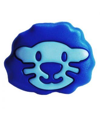 Kinderknopf Polyamid in Form eines Löwenkopfes mit Öse - Größe:  18mm - Farbe: blau - ArtNr.: 281211