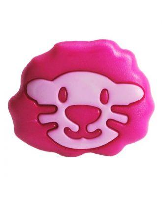 Kinderknopf Polyamid in Form eines Löwenkopfes mit Öse - Größe:  18mm - Farbe: pink - ArtNr.: 281212