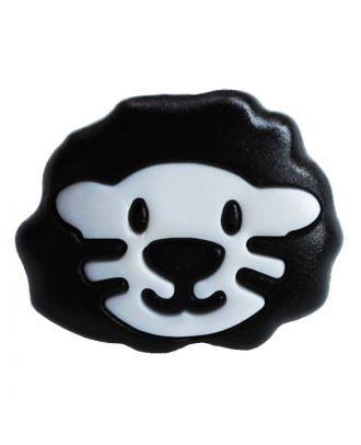 Kinderknopf Polyamid in Form eines Löwenkopfes mit Öse - Größe:  18mm - Farbe: weiß - ArtNr.: 281209